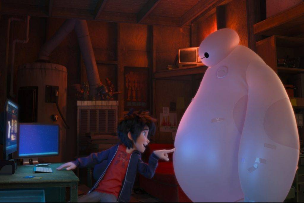 """BIG HERO 6"" Pictured (L-R): Hiro and Baymax in a scene from the animated film ""BIG HERO 6."" HANDOUT CREDIT: Disney ©2014 Disney. All Rights Reserved. [Via MerlinFTP Drop]"