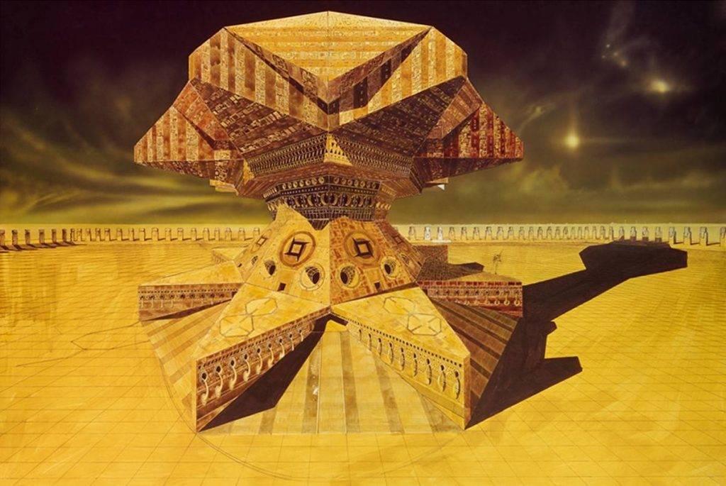 Дворец на Арракисе в представлении Криса Фосса. Прямо-таки неземная геометрия по-лавкрафтовски