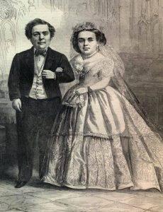«Генерал Мальчик- с-Пальчик» и его супруга лилипутша Лавиния Уоррен.