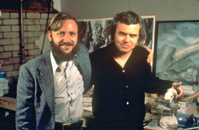 О'Бэннон и Гигер на съёмочной площадке.
