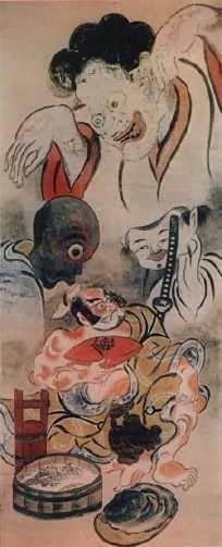 Ёкай и самурай (Ñудожник Аотоси Мацуи).