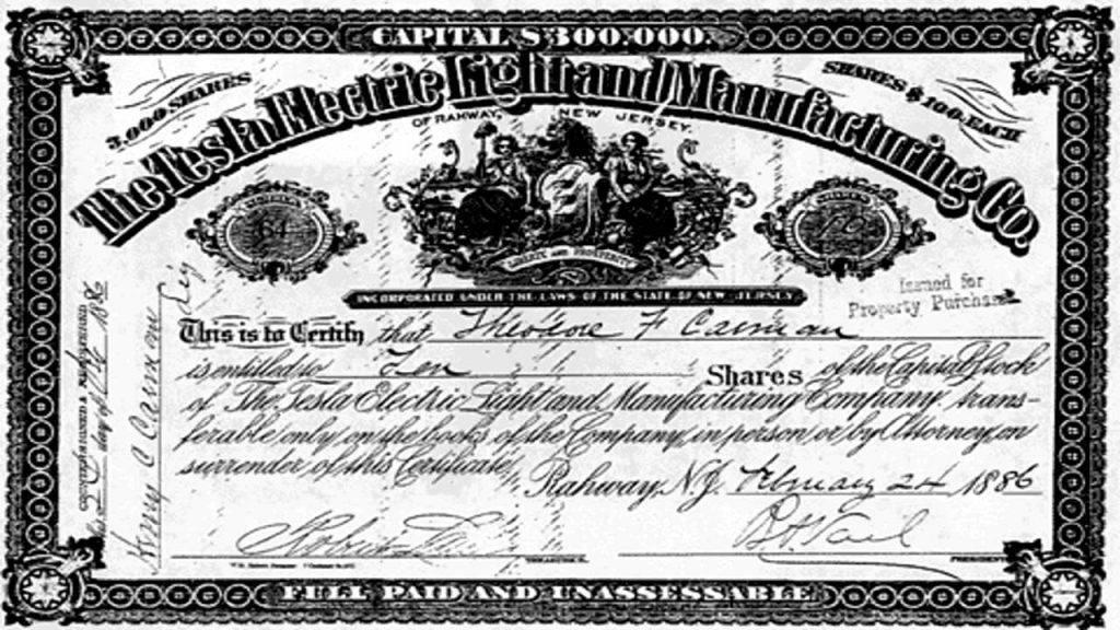 tesla stock certificate