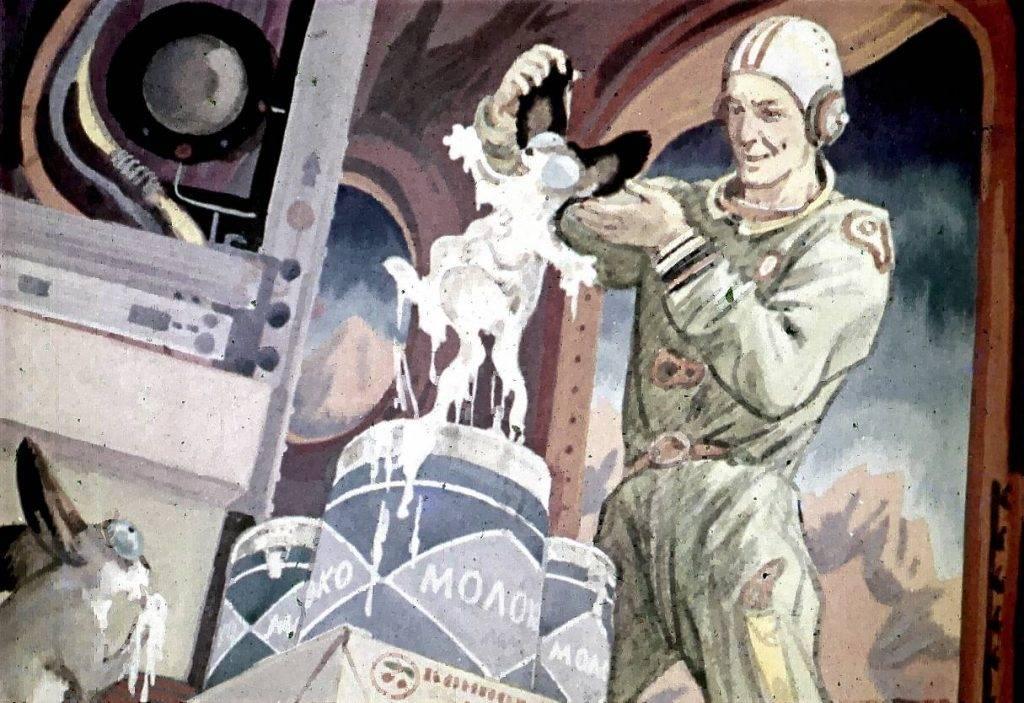 Космонавты спасли Шушу из банки со сгущёнкой.