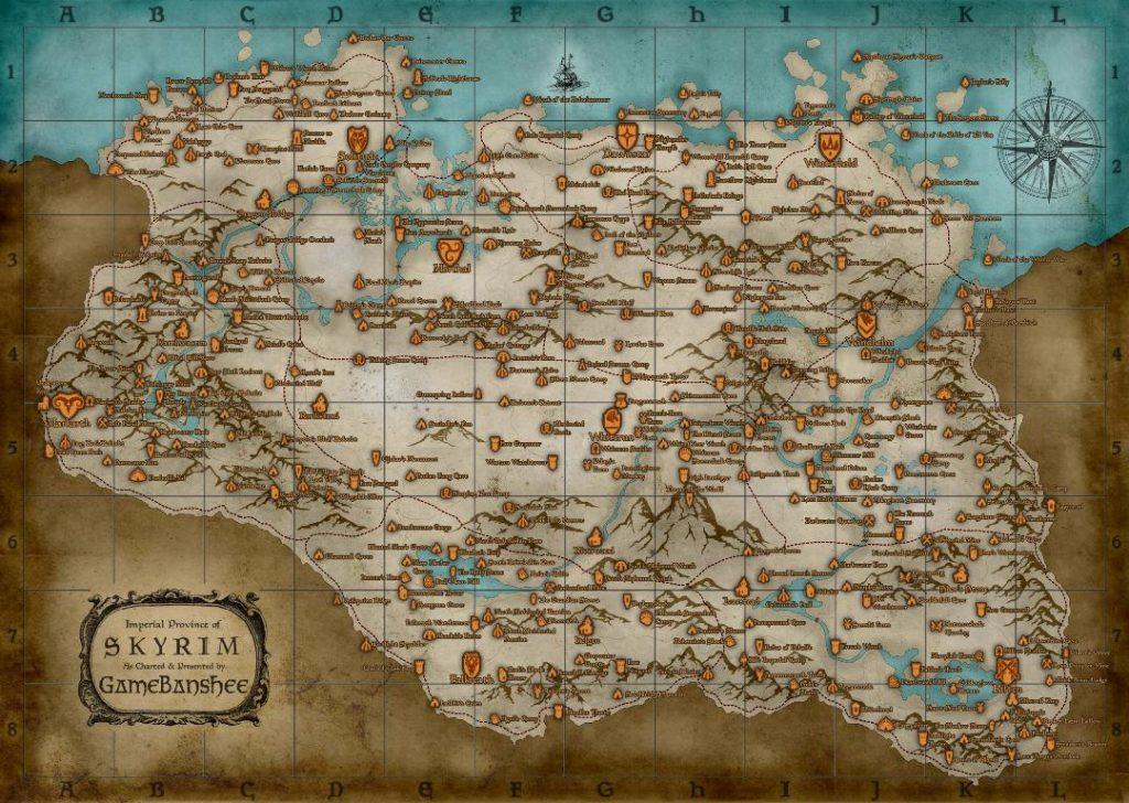 Карта Скайрима. Яблоку негде упасть.