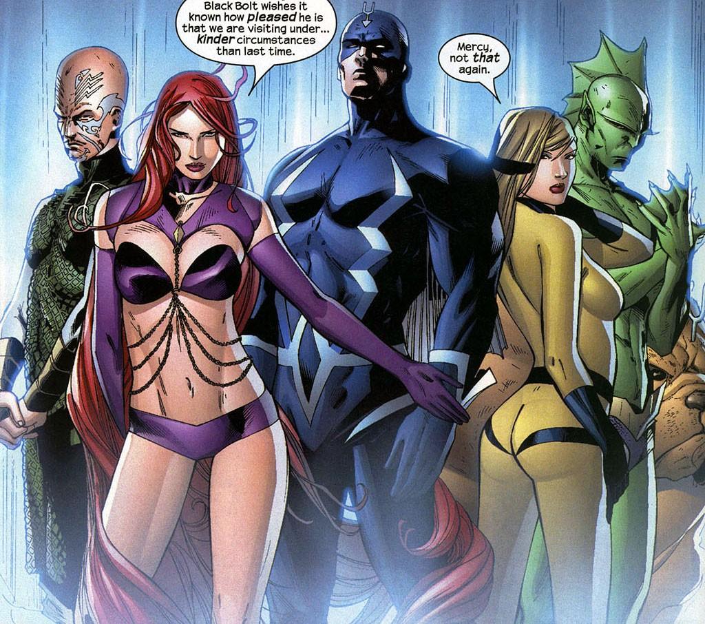 К Нелюдям принадлежат несколько известных суепргероев Marvel — например, Чёрный Гром, Медуза и Кристал.