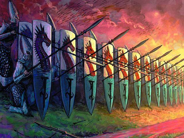 Стена щитов — надежное укрытие от превратностей рукопашного боя.