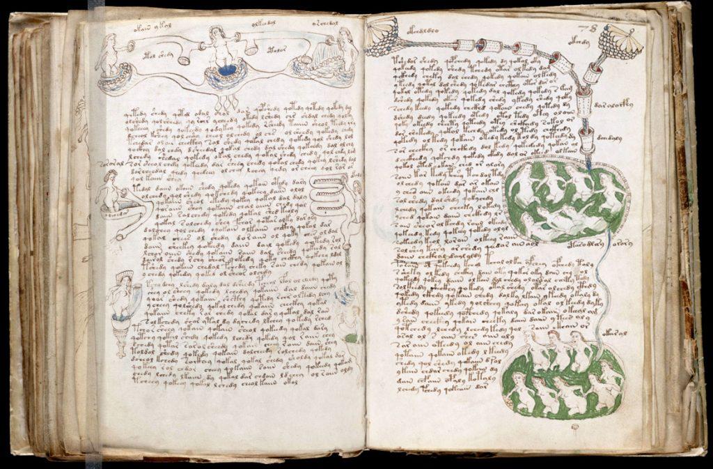 Рукопись Войнича, предположительно написанная на неизвестном науке языке, не поддаётся прочтению в принципе. По телепередачам «взломать» инопланетный язык проще: есть возможность сопоставить изображение со звуком.
