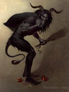 Крампус, «злой двойник» Санта-Клауса, имеет много общего с Паном и с Дикой Охотой. Тут он в представлении Джеральда Брома.