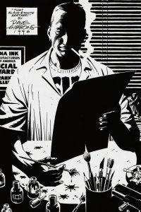 Дружеский шарж Дэйва Гиббонса на Фрэнка Миллера под названием «Этот чёрно-белый ублюдок» (одна из новелл «Города грехов» называется «Этот жёлтый ублюдок»)