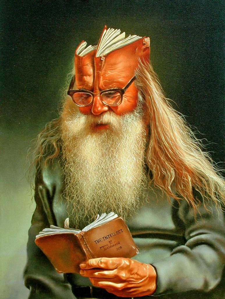 Intellect — В 1975 году я как-то раз вернулся из музея под впечатлением от работ Рембрандта, Дали и Магритта, и меня посетила идея написать такую картину. Мне действительно позировал человек с такими вот волосами и бородой. Я попросил его достать бумажник, посмотреть в него, словно в книгу, и сфотографировал.