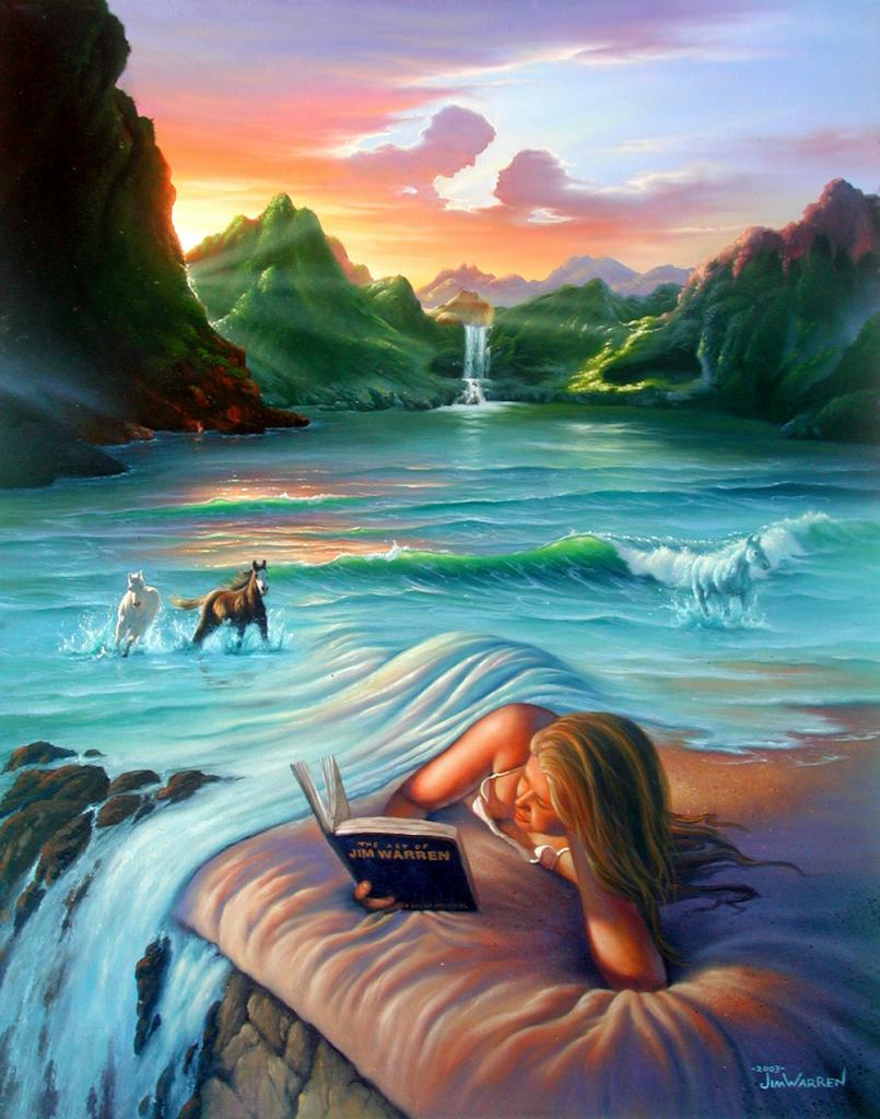 living in a jim warren painting — Люди часто говорят, что хотели бы жить в моих картинах. И в 2003 году, когда я отмечал 35-летие своей карьеры, я решил создать эту работу и объединить в ней несколько моих привычных мотивов: девушку с волосами в виде водопада, облака в виде влюблённых, лошадей, появляющихся из волн. А женщина на переднем плане читает книгу «Искусство Джима Уоррена».