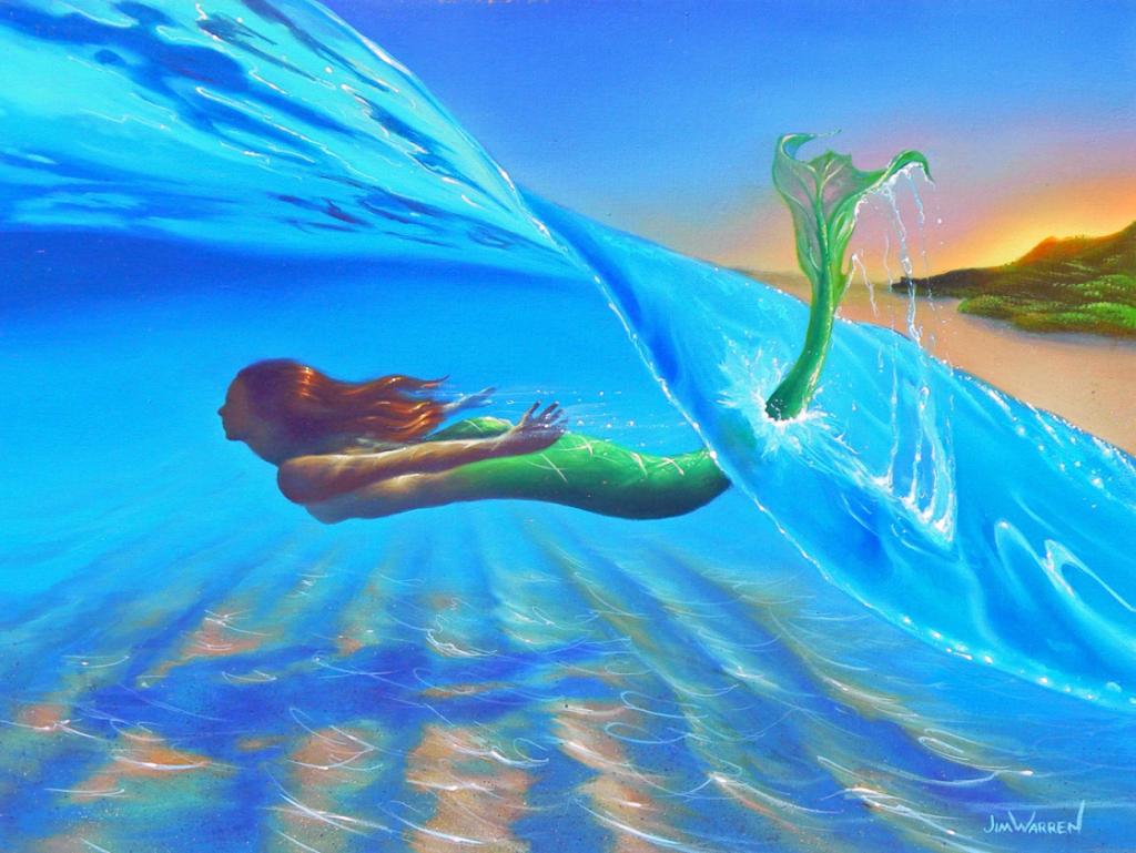 Mermaid of the Sea — «Русалочка». Русалки, пожалуй, самые популярные фантастические создания. Когда я писал эту картину, то добавил лишь один небольшой сюрреалистический штрих. Видите, на дне океана виднеется тень человека — с ногами и всем остальным?