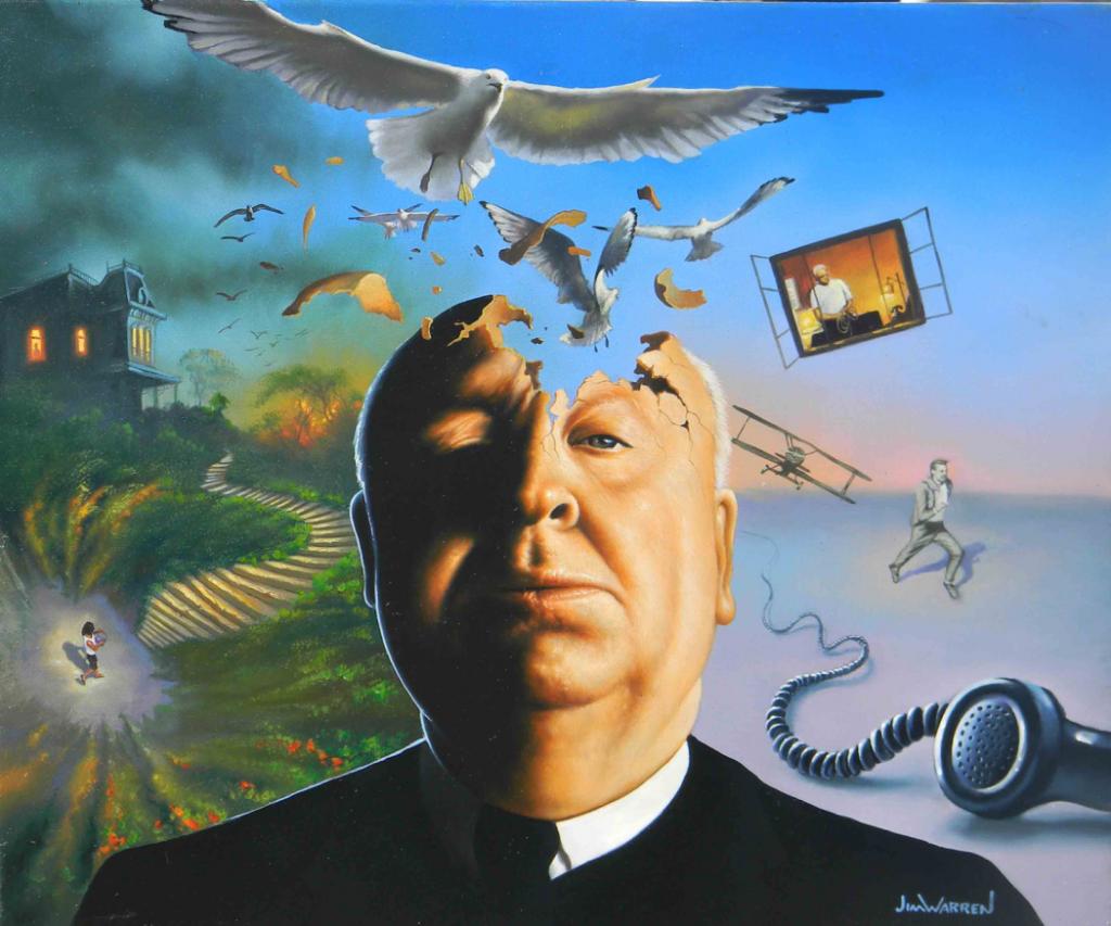 Hitchcock's Seven Classics — «Семь картин Хичкока». Меня всегда вдохновлял Альфред Хичкок — пусть он и режиссёр, а не художник. Его внимание к деталям и умение удерживать зрительский интерес подтолкнули меня к тому, чтобы добиваться того же и в своём творчестве. Так что здесь я решил изобразить Хичкока, а эти символические картинки отсылают к семи его лучшим фильмам.