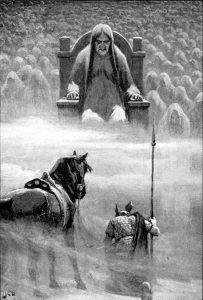 Посланник Одина Хермод перед богиней Хель. Иллюстрация Джон Доллмана (1909).