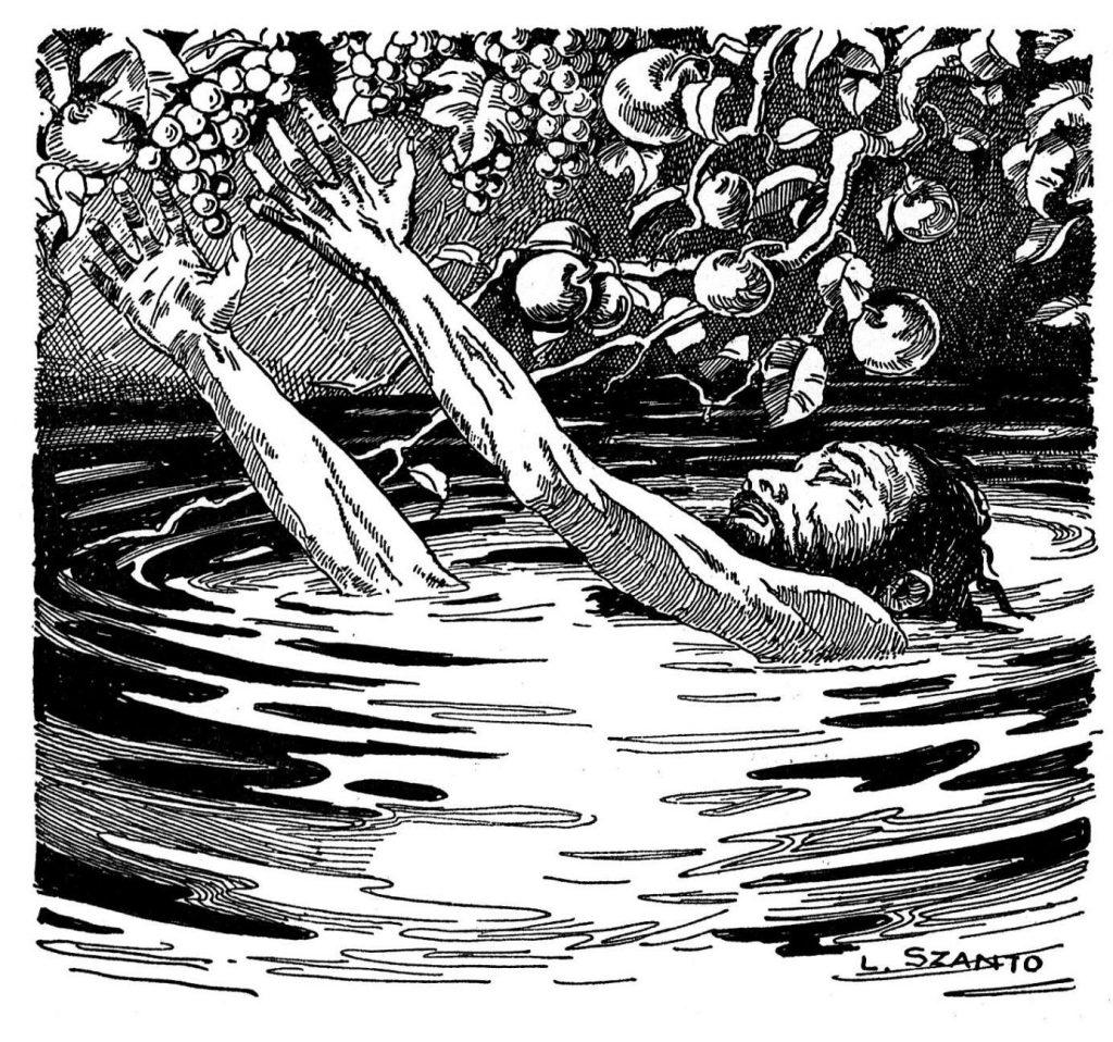 Один из самых известных мучеников Аида — царь Тантал. Стоя по горло в воде и в полуметре от спелых плодов, он обречён страдать от голода и жажды.