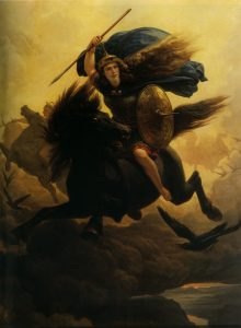 «Валькирия» норвежского живописца Петера Арбо (1864). Прекрасные воительницы валькирии забирали павших героев с собой в Вальхаллу.