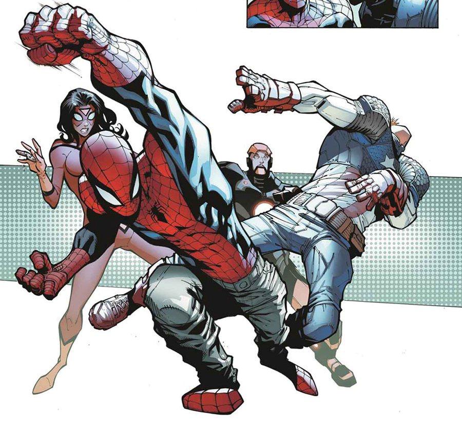 Однажды Питер по надуманному поводу ударил Капитана Америку.