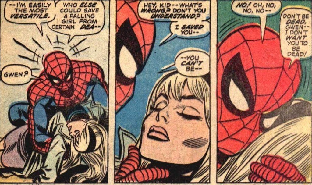 Паук плохо учил физику: он «спас» падающую Гвен у самой земли и не мог понять, чего это она умерла