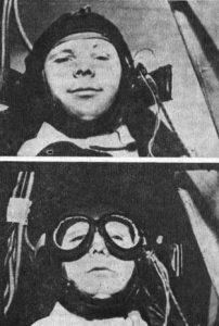 Юрий Гагарин в центрифуге: до перегрузки и при воздействии пятикратного ускорения (октябрь 1959 года)