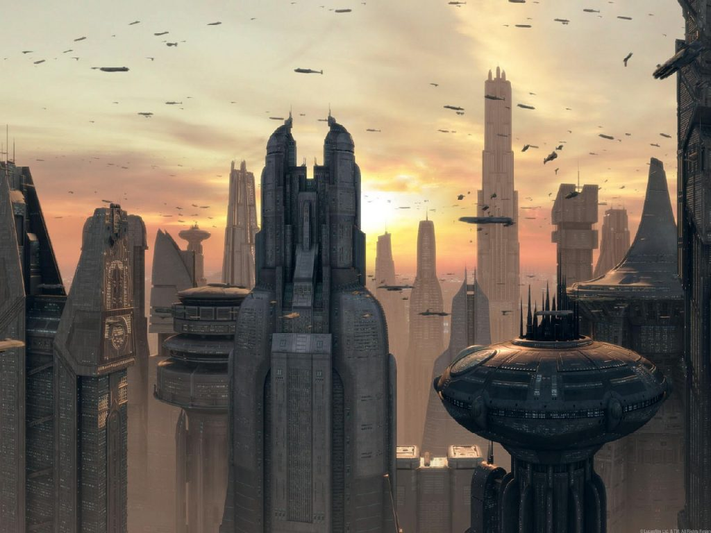 Планета Корусант впервые появляется в романе Тимоти Зана «Наследник Империи». В приквелах Лукас воспользовался идеей Зана