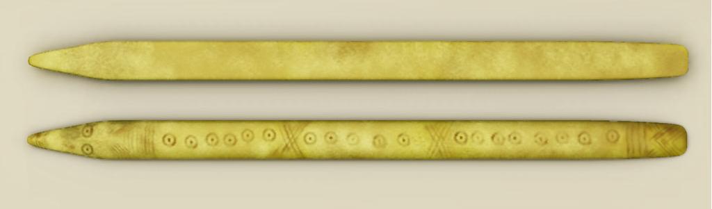 Палочки D2 изегипетских гробниц: гладкая сторона давала одно очко, арезная— ноль. Или наоборот