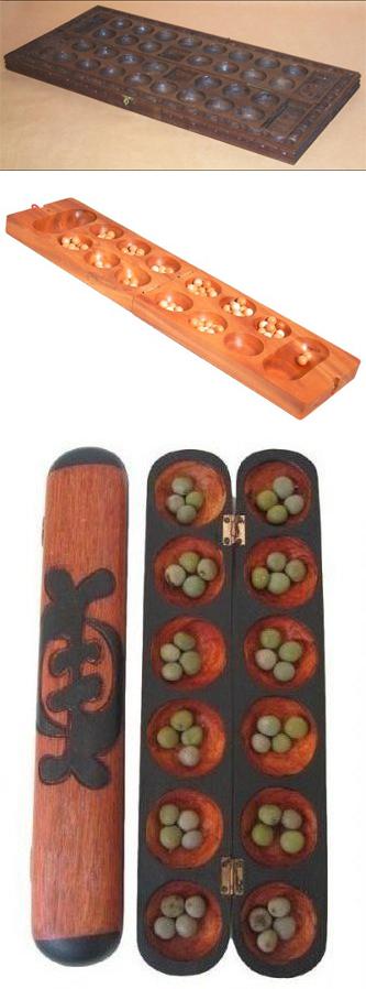 Бао (вверху), калах (в центре) и овари (снизу) — игры одного семейства, где игровой процесс состоит в «перекладывании камешков».