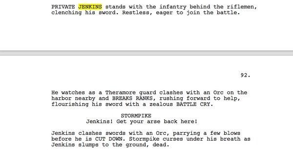 А вот и страница сценария с Лироем Дженкинсом