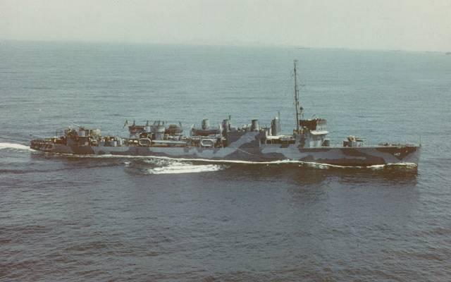 Эсминец «Ропер», на котором служил Хайнлайн.