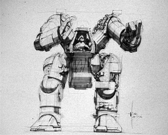 Отвергнутый дизайн погрузчика, нарисованный Сидом Мидом. Кэмерон в итоге использовал его... через 20 лет в «Аватаре»