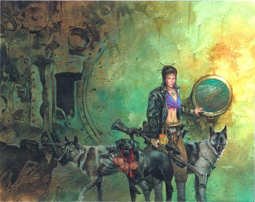 Эту героиню я придумал сам. Её зовут Анна Лей, она охотник в горах Пустых земель. А ещё рядом с ней всегда есть верная стая волкодавов, готовых её защитить.