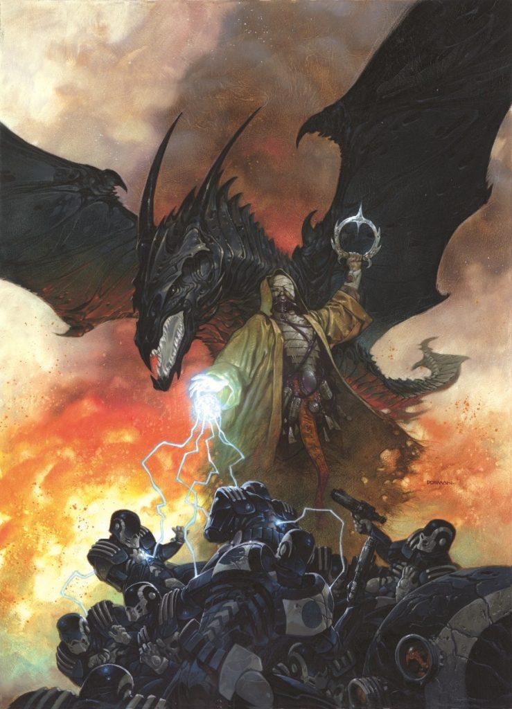 «Чёрный дракон». Люблю сюжеты, созданные на стыке жанров. Работа над этим рисунком доставила мне немало удовольствия. Благодаря сочетанию магии и технологий мне удалось создать интересную боевую сцену.