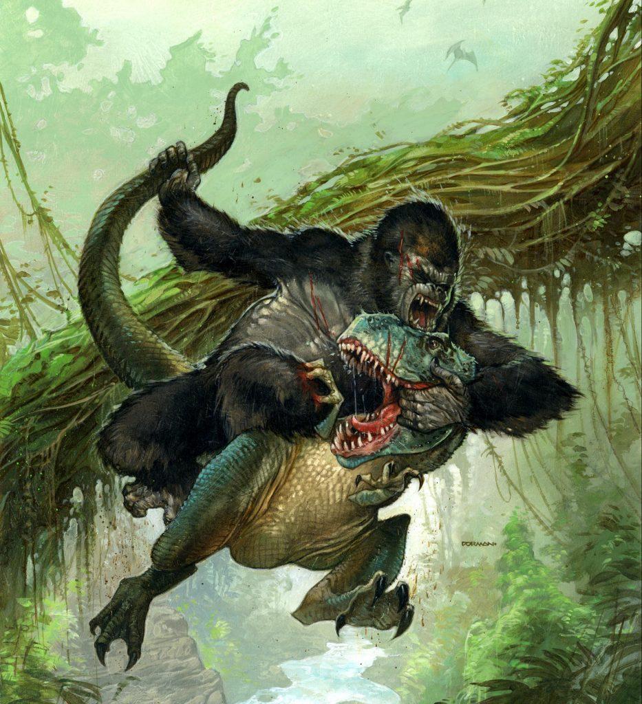 «Битва Конга». Царь зверей сражается за власть в своём царстве. Здорово, что эта картина дала мне возможность как следует прорисовать пейзаж и при этом сохранить акцент на персонажах.