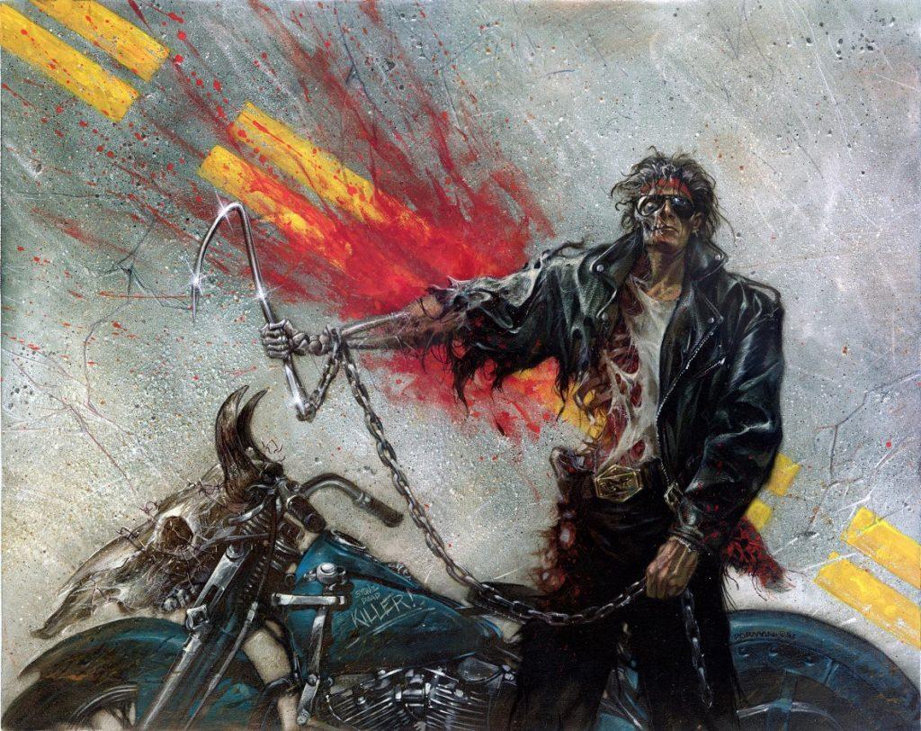 «Роадкилл». Так зовут придуманного мной героя — зомби-байкера. К сожалению, его мозг сохранился и функционирует после смерти, поэтому он занят тем, что пытается выжить в мире, перебив всех остальных зомби.