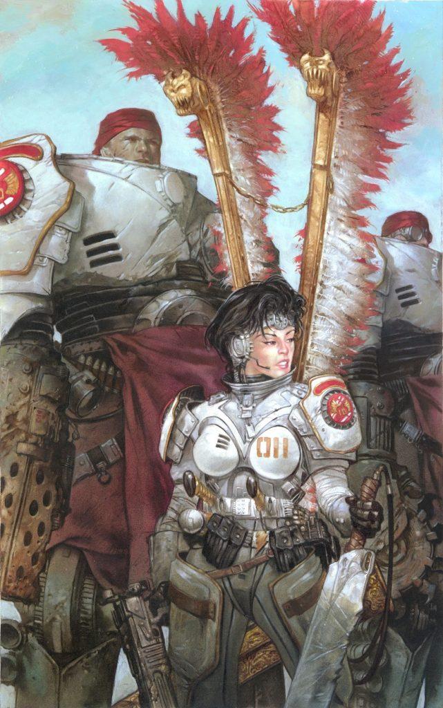 «Ангелы света». Бойцы в броне — персонажи моего цикла о Пустых землях. В работе над картиной мне было особенно интересно придумывать броню для героев.