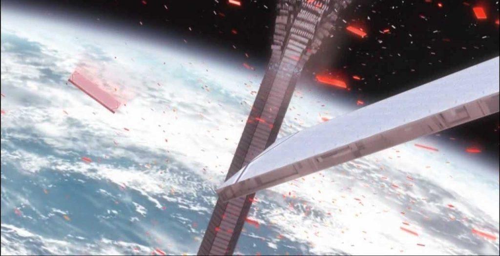 В околоземном пространстве трос лифта будет постоянно повреждаться микрометеоритами и подвергаться опасности столкновения с «космическим мусором» (кадр из аниме Gundam 00)