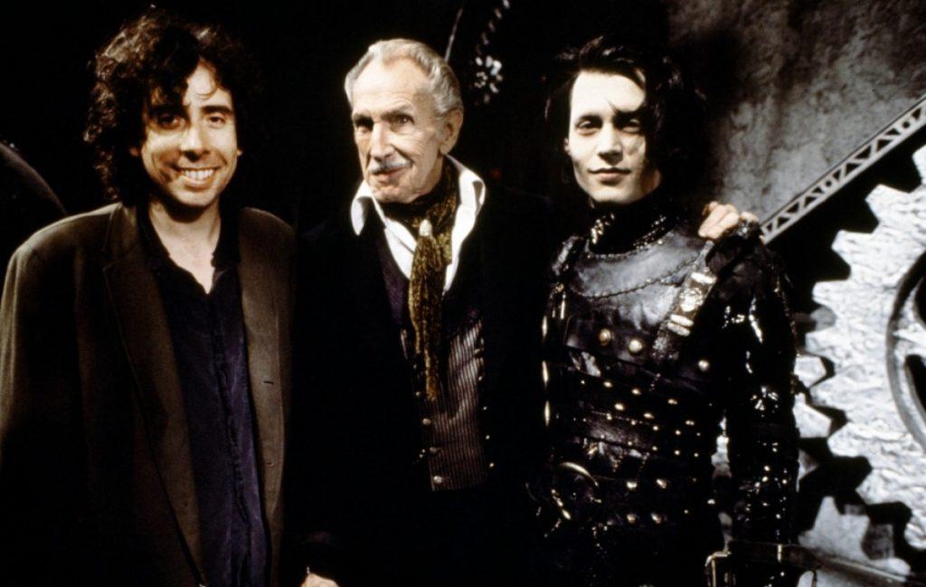На съемках «Эдварда Руки-ножницы»: Тим Бертон, Винсент Прайс (он сыграл «отца» Эдварда) и Джонни Депп