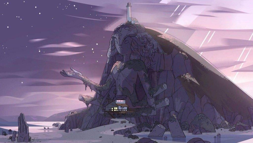 Кристальный храм, база самоцветов. Домик Стивена находится у его подножья