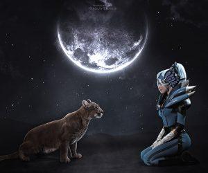 Косплей: лунная наездница Луна из Dota 2