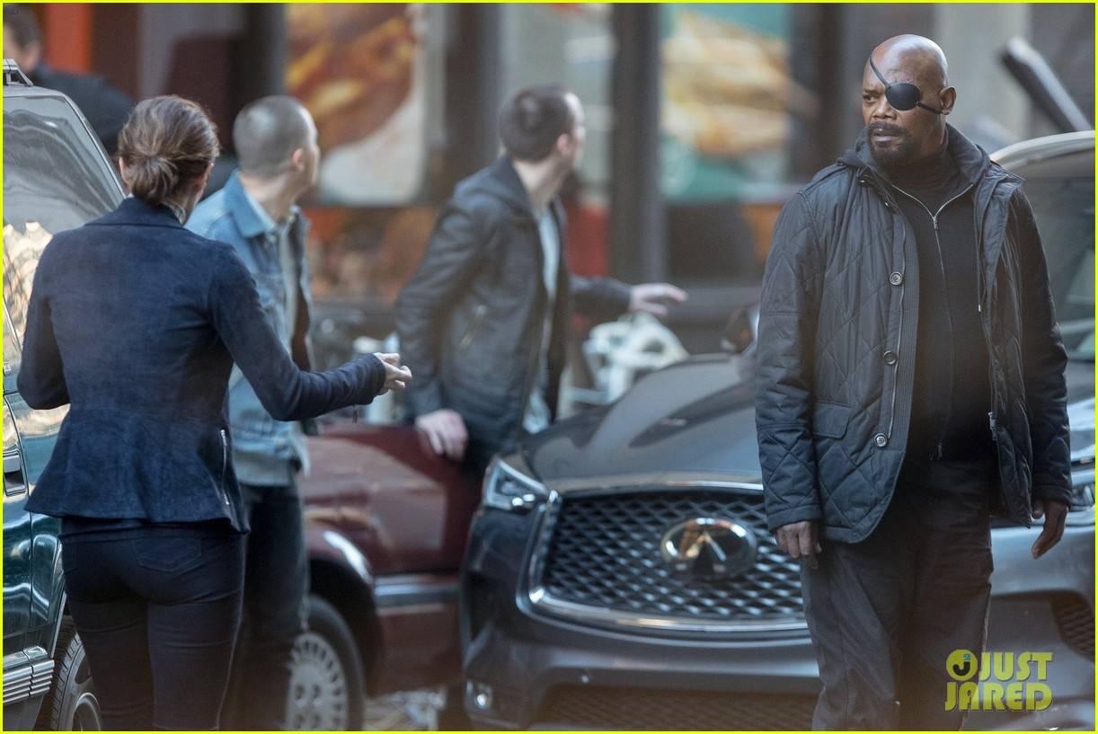 Фото: Ник Фьюри и Мария Хилл на съёмках неизвестного фильма Marvel 5