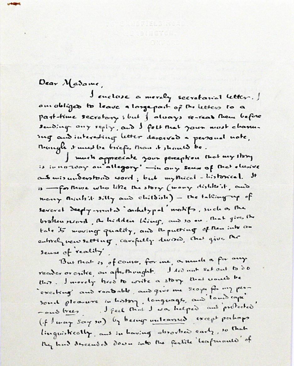 Книжный дилер продаёт письмо Толкина к читательнице за 48 тысяч долларов 1