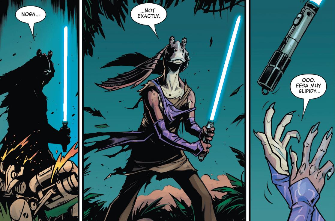 В комиксах Джа-Джа Бинксу наконец-то дали световой меч! Но не надолго