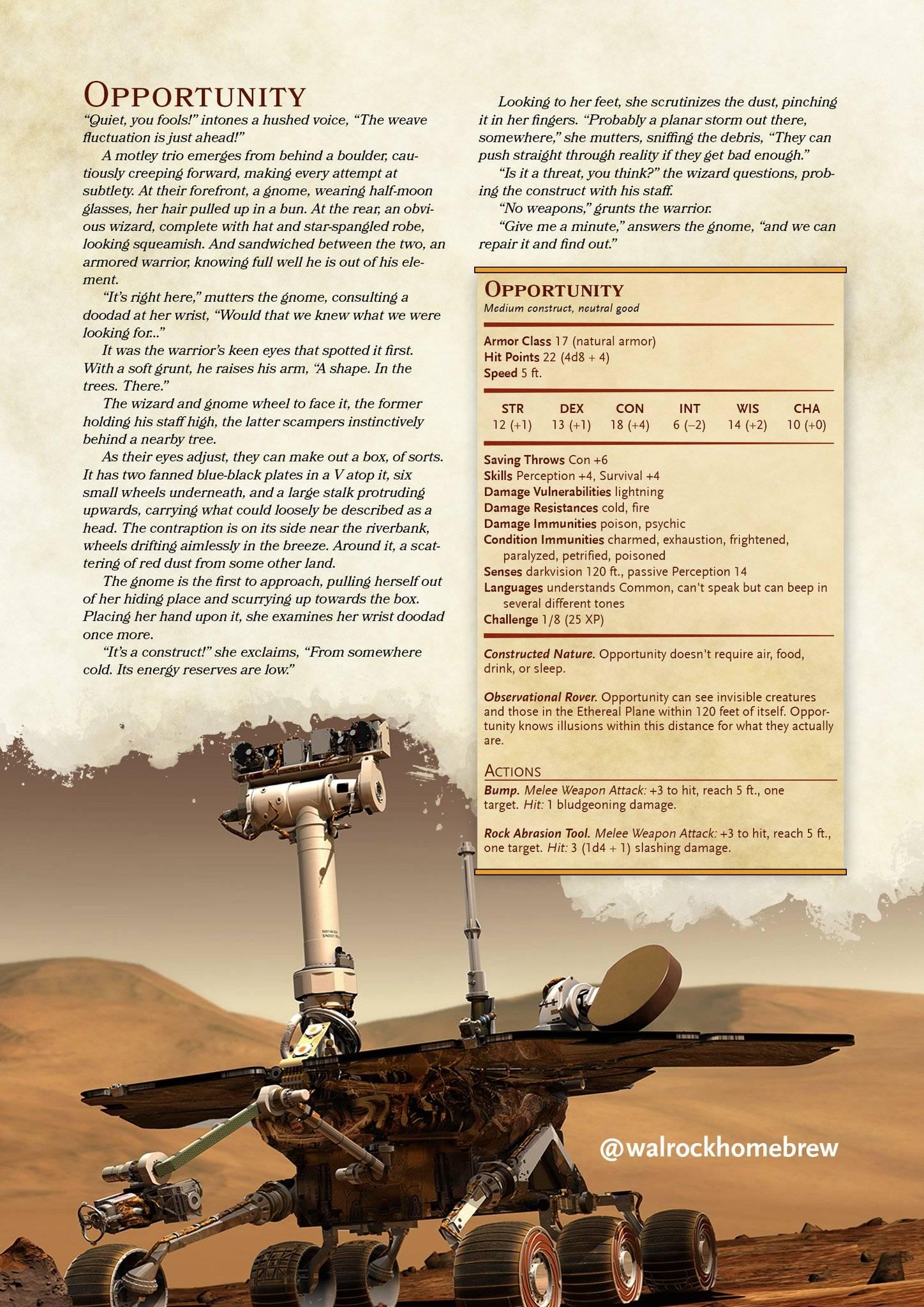 Марсход «Оппортьюнити» воссоздали в Dungeons & Dragons