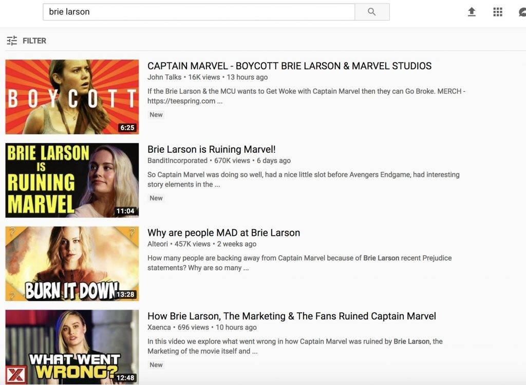 YouTube и Rotten Tomatoes изменили алгоритмы после нападок на «Капитана Марвел»из-за высказываний Бри Ларсон 1