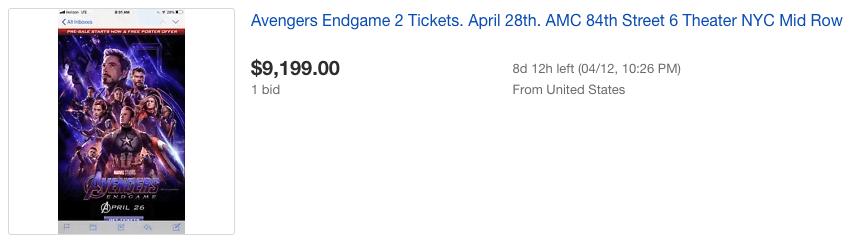 Зрители начали продавать билеты на «Мстителей: Финал» —цены доходят до 10 тысяч долларов 1