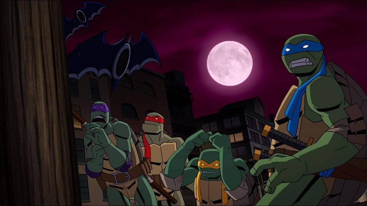 Открывающая сцена из грядущего мультфильма «Бэтмен против Черепашек-ниндзя»