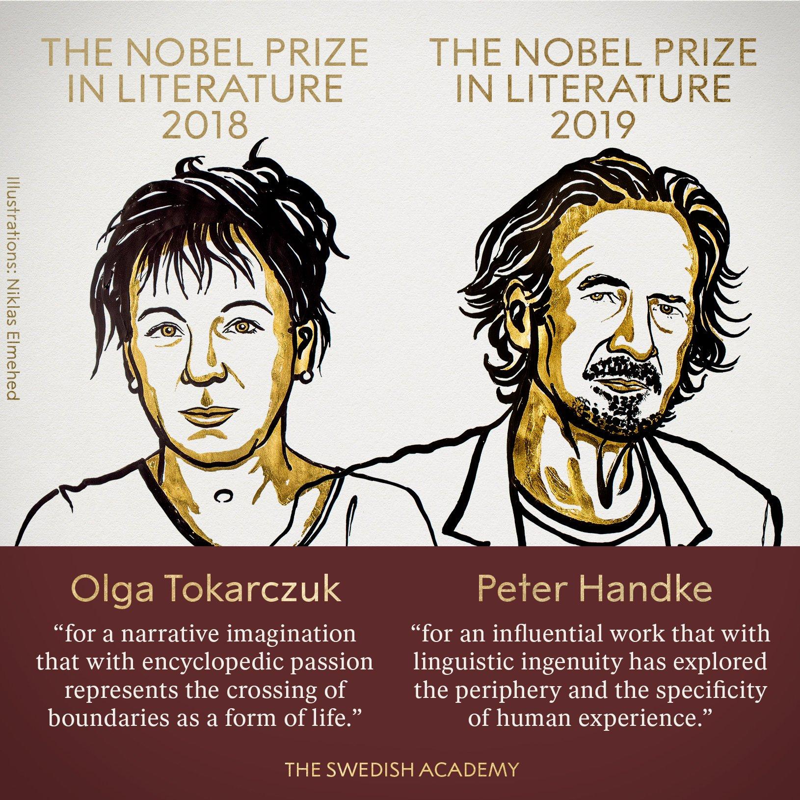 Нобелевский комитет вручил награды по литературе сразу за два года — Ольге Токарчук и Петеру Хандке