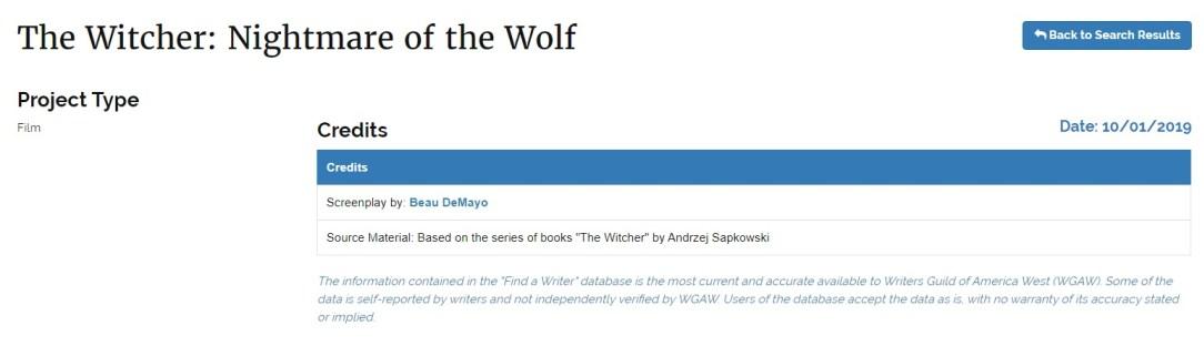 Слух дня: насайте гильдии сценаристов США нашли упоминание анимационного проекта по «Ведьмаку» 1