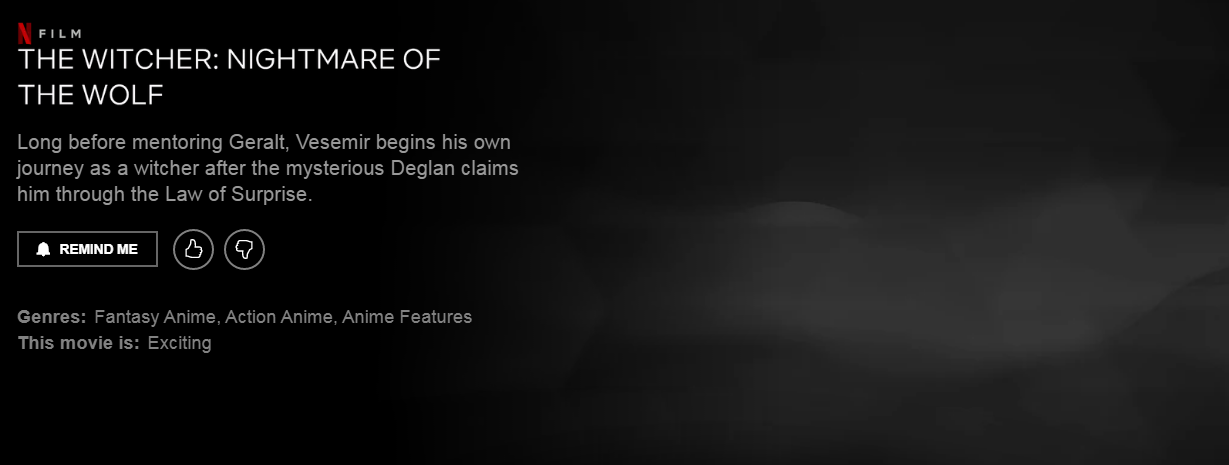Netflix раскрыл синопсис анимационного фильма «Ведьмак: Кошмар волка»