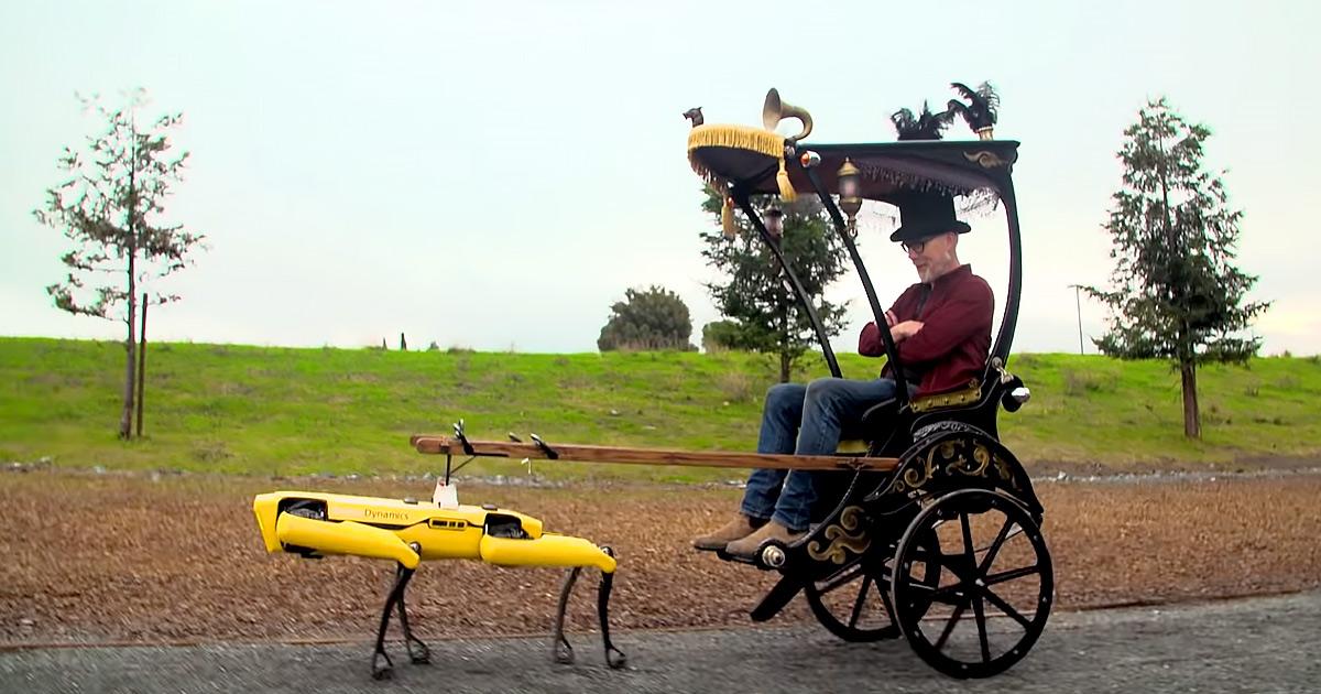 Адам Сэвидж «запряг» робособаку  Boston Dynamics вповозку-рикшу