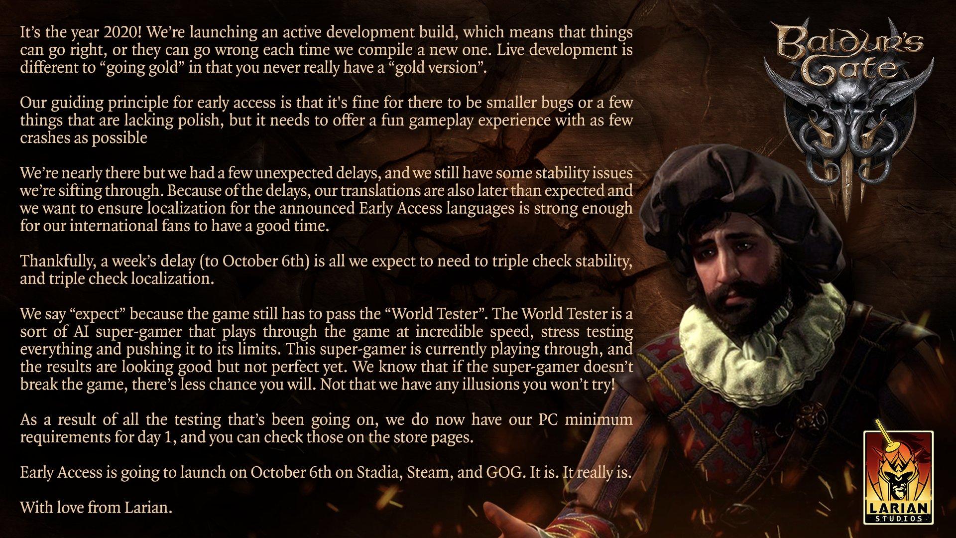 Baldur's Gate 3 выйдет в раннем доступе на неделю позже